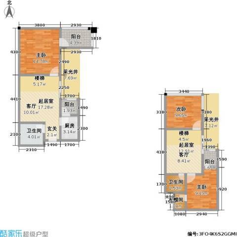 帝都广场・东方曼哈顿3室0厅2卫1厨109.00㎡户型图