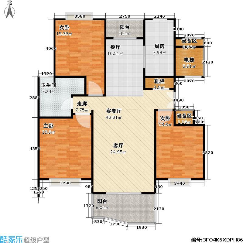 象源丽都一期132.00㎡房型: 三房; 面积段: 132 -135 平方米; 户型