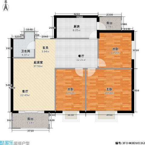 枫南世嘉(亚飞小区)3室0厅1卫1厨111.00㎡户型图