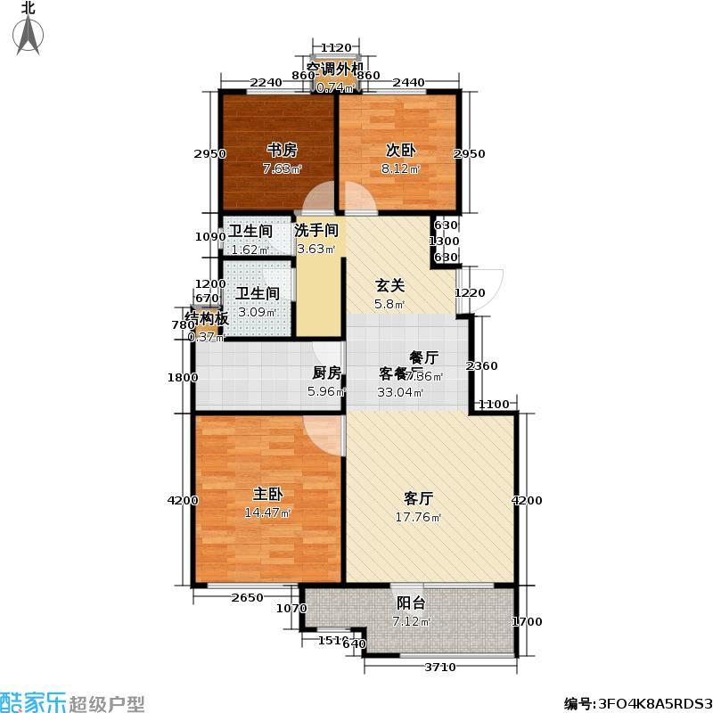万科魅力之城二期户型3室1厅2卫1厨