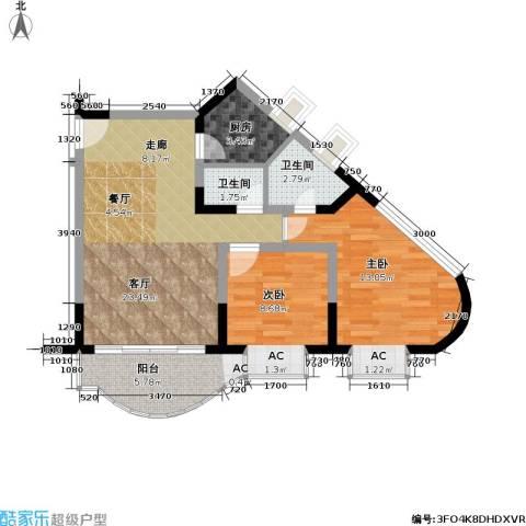 聚丰锦绣盛世(一期)2室1厅2卫1厨68.00㎡户型图