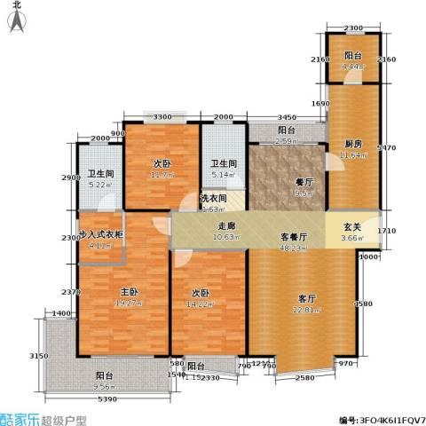 滨江名人苑3室1厅2卫1厨140.00㎡户型图