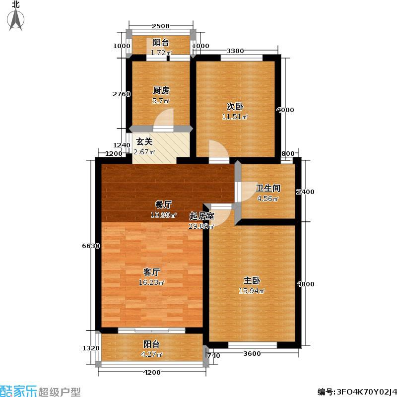 星源佳苑90.00㎡房型: 二房; 面积段: 90 -91 平方米; 户型