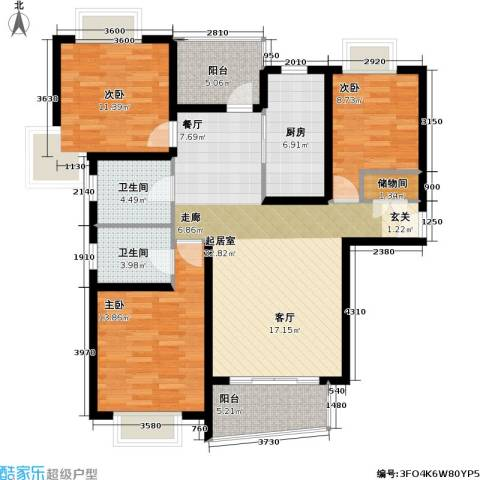 新梅共和城二期3室0厅2卫1厨115.00㎡户型图