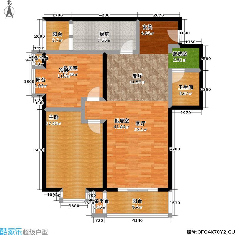 伊顿公寓107.1平方米两房南北通户型