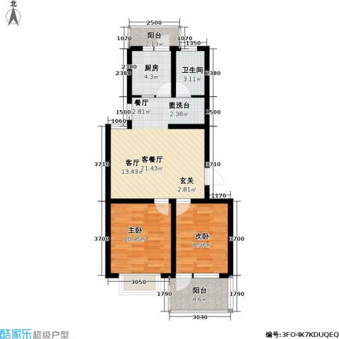 迪尚御园2室1厅1卫1厨80.00㎡户型图