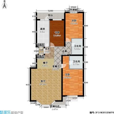 金港国际公寓(三期)3室1厅2卫1厨189.00㎡户型图