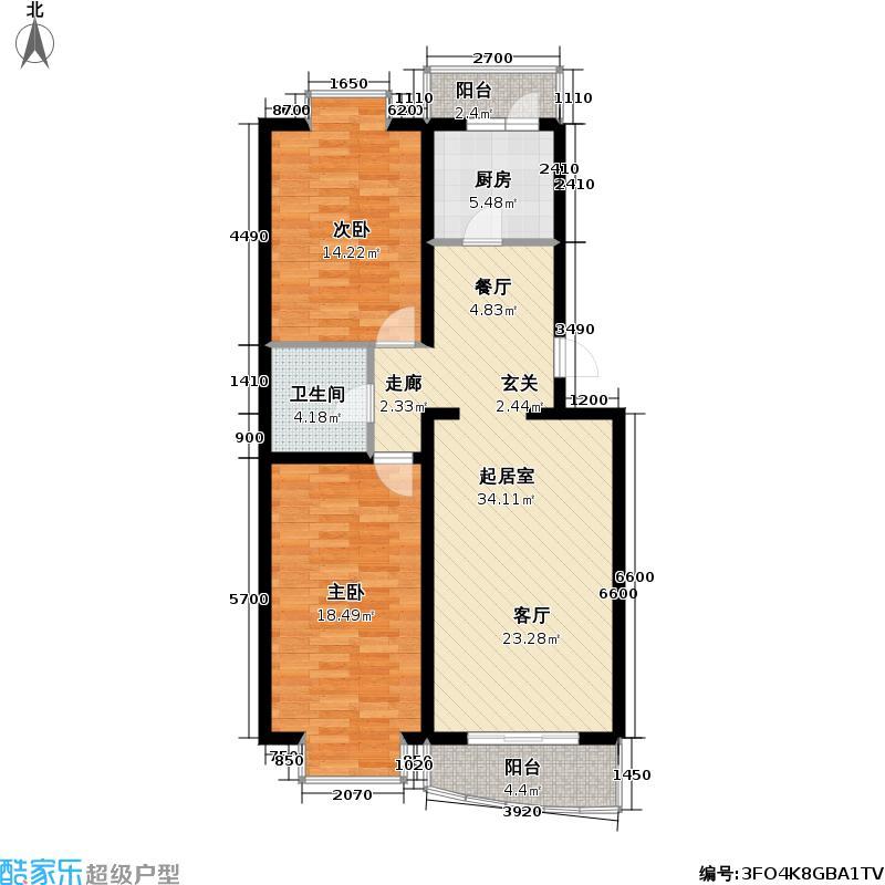 香林郡・运河101.24㎡2室2厅1卫户型