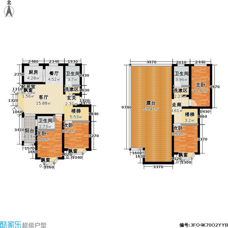 东陆锦悦苑156.30㎡房型: 复式; 面积段: 156.3 -157.1 平方米;户型