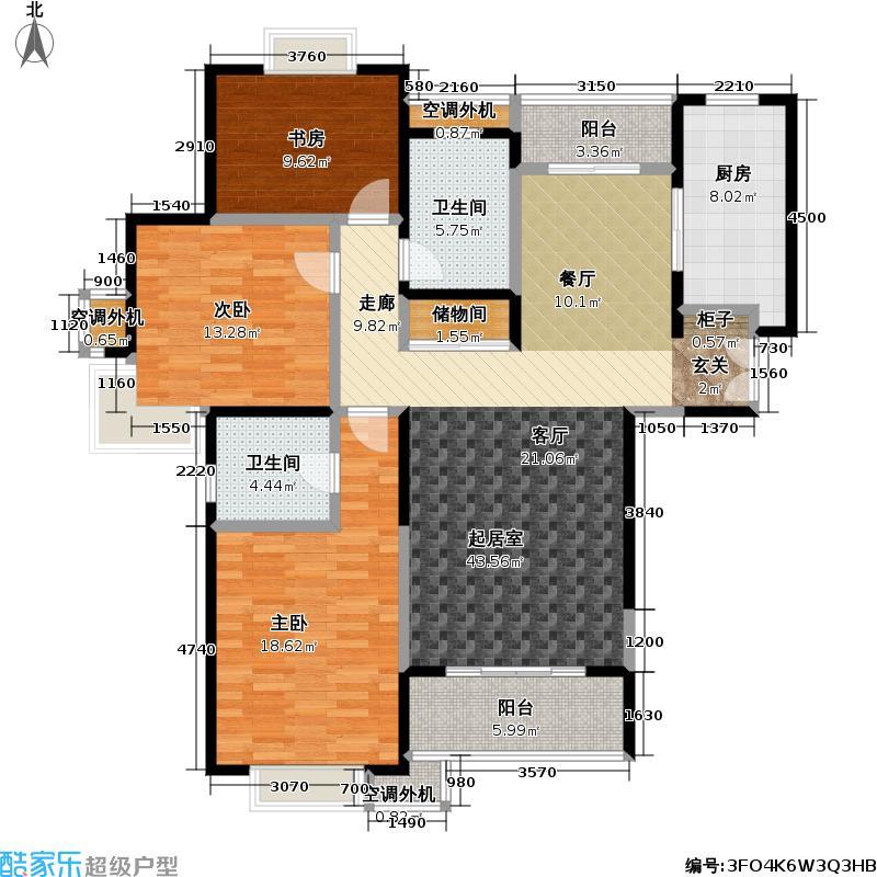 宏润花园二期146.00㎡房型: 三房; 面积段: 146 -150 平方米;户型