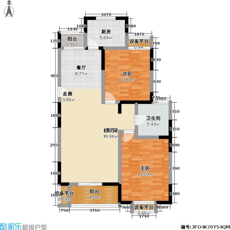 浦江风景苑一期房型户型2室1卫1厨