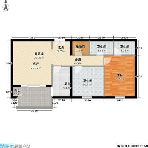 龙岳洲大厦1室0厅3卫1厨89.00㎡户型图