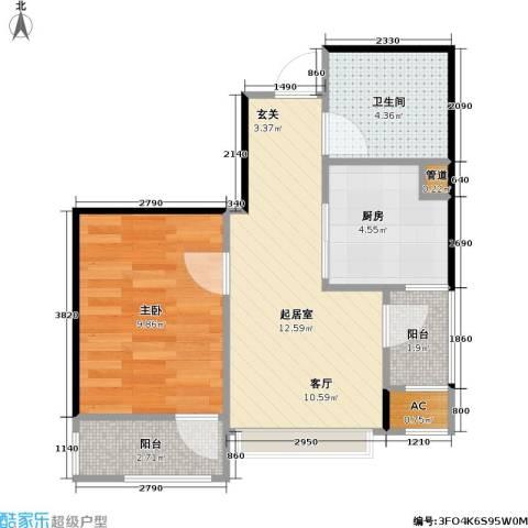 大连天地・悦翠台Style1室0厅1卫1厨50.00㎡户型图