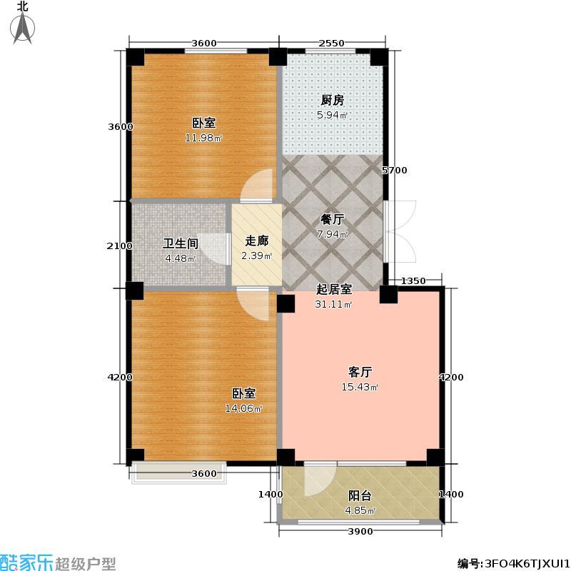 亿诚御景湾82.00㎡三期莱茵郡组团 I户型2室2厅1卫