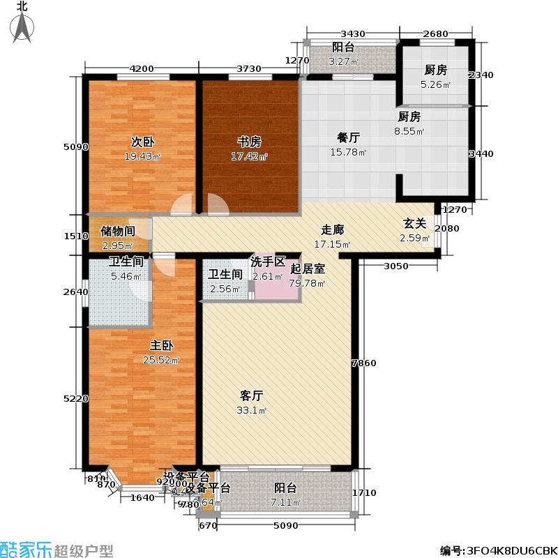 龙岳洲大厦189.76㎡三室二厅户型