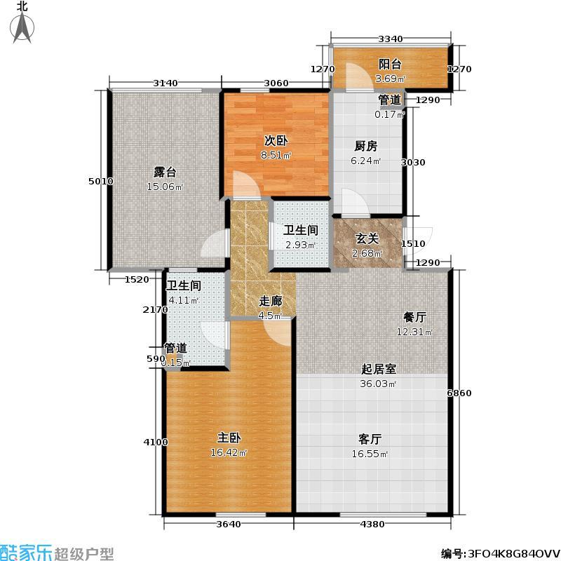 红树林86.00㎡二期3-1(6层)二室二厅二卫户型