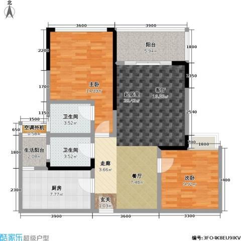 渝能幸福山房2室0厅2卫1厨86.74㎡户型图