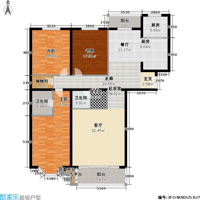 龙岳洲大厦190.83㎡三室二厅户型