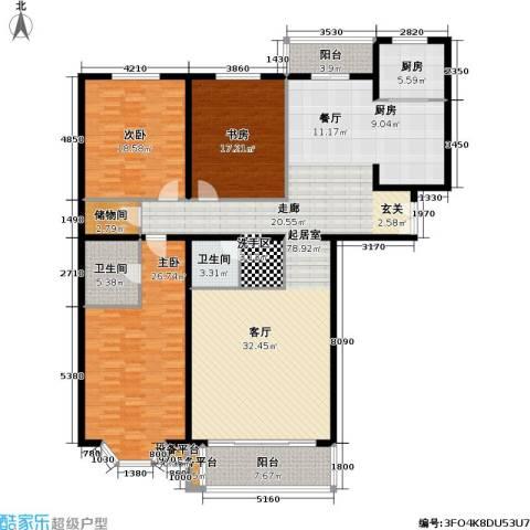 龙岳洲大厦3室0厅2卫1厨191.00㎡户型图