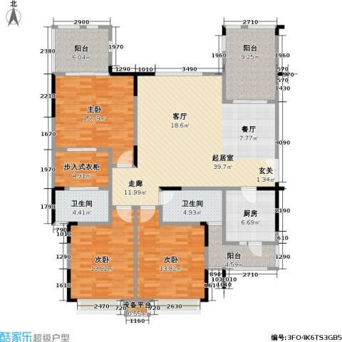 鸥鹏兰亭别院3室0厅2卫1厨140.00㎡户型图