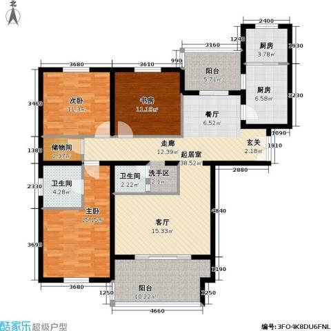 龙岳洲大厦3室0厅2卫2厨128.00㎡户型图