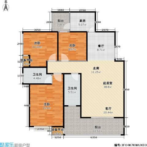 锦天・生态城3室0厅2卫1厨118.00㎡户型图