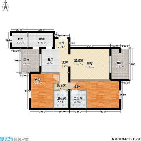 龙岳洲大厦2室0厅2卫2厨107.00㎡户型图