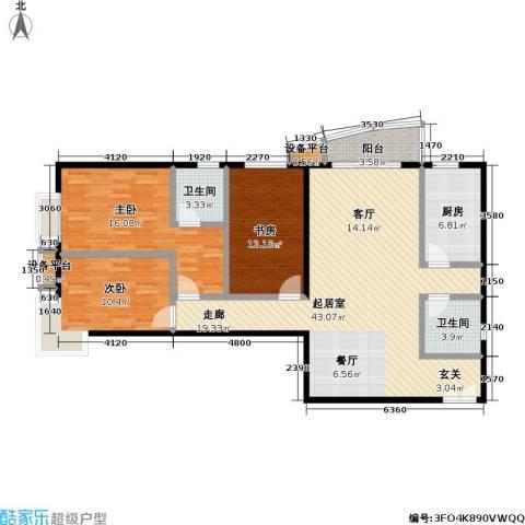 芍药居北里小区3室0厅2卫1厨114.00㎡户型图