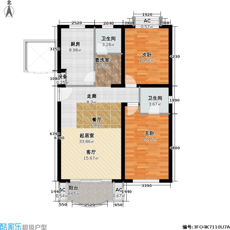 永和新城104.00㎡房型: 二房; 面积段: 104 -130 平方米; 户型