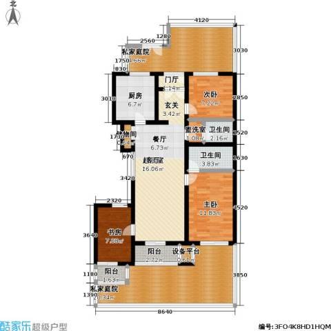 万科青青家园3室0厅2卫1厨128.00㎡户型图