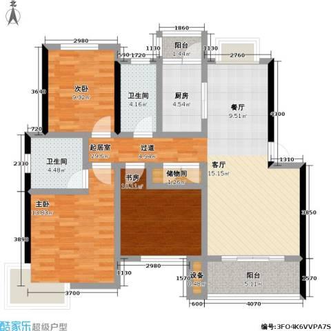 当代高邸三期3室0厅2卫1厨100.00㎡户型图