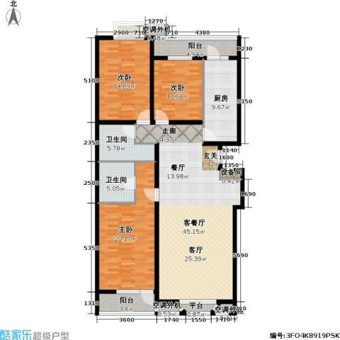 金港国际公寓(三期)3室1厅2卫1厨141.00㎡户型图