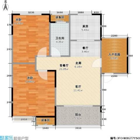 融科檀香山(ING组团)2室1厅1卫1厨88.00㎡户型图