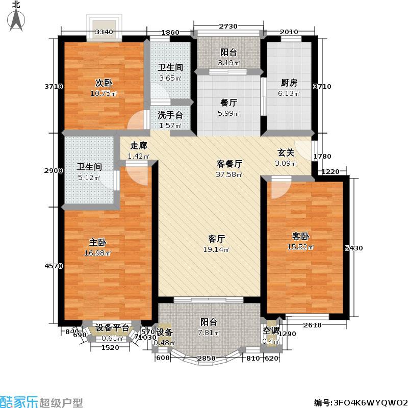 住友嘉馨名园125.00㎡房型: 三房; 面积段: 125 -131 平方米; 户型