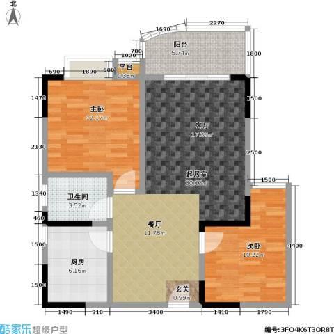 升伟・新天地(二期)2室0厅1卫1厨96.00㎡户型图