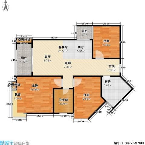 宝安江南城三期御城3室1厅1卫1厨94.00㎡户型图