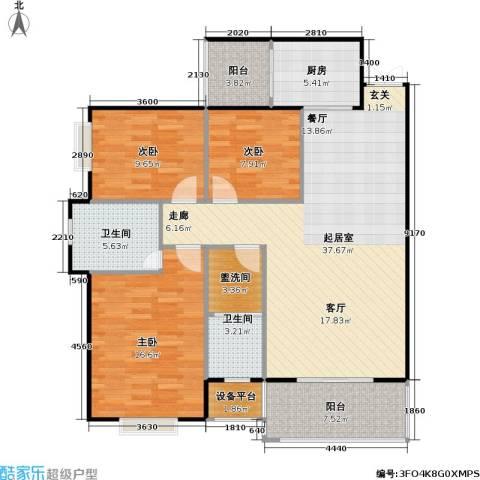 锦天・生态城3室0厅2卫1厨119.00㎡户型图