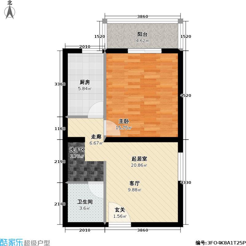 海清园57.83㎡一室一厅一卫户型