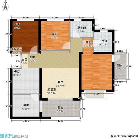 南博湾花园3室0厅2卫1厨127.00㎡户型图