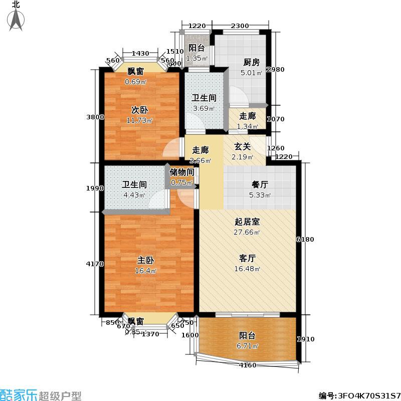 绿地春申花园二期90.00㎡房型: 二房; 面积段: 90 -97 平方米; 户型