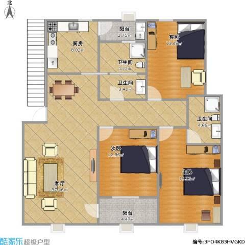 云龙嘉苑3室1厅3卫1厨144.00㎡户型图