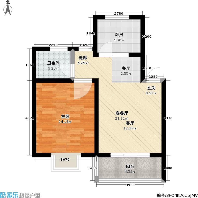 东晨花园56.58㎡房型: 一房; 面积段: 56.58 -59.94 平方米;户型
