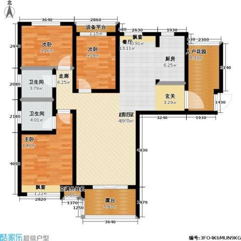 首创悦府3室0厅2卫0厨117.00㎡户型图