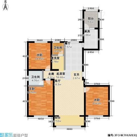 昆仑唐人中心3室0厅2卫1厨142.00㎡户型图