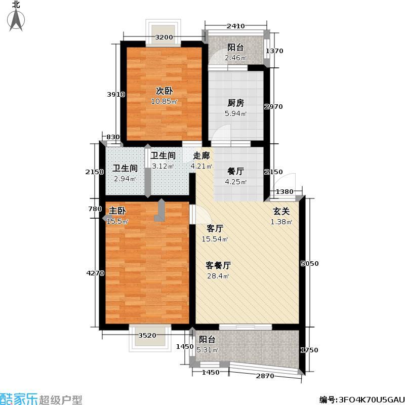东晨花园83.29㎡房型: 二房; 面积段: 83.29 -96.82 平方米; 户型