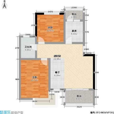 当代高邸三期2室0厅1卫1厨84.00㎡户型图