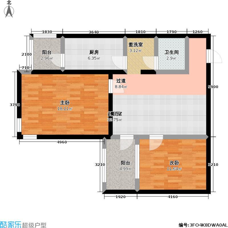 望园小区三期82.00㎡2室-2厅-1卫-1厨户型