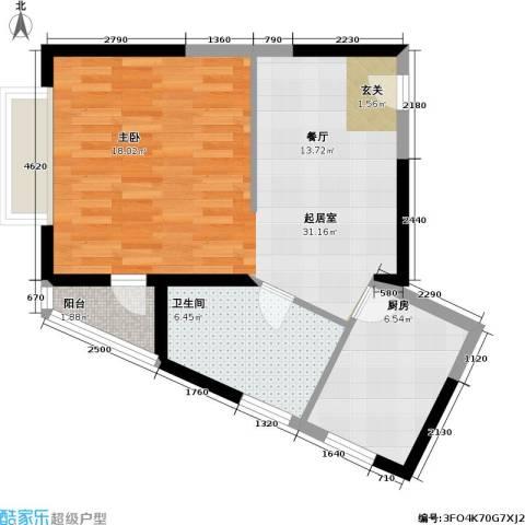 君悦・鹿城一品1卫1厨52.00㎡户型图