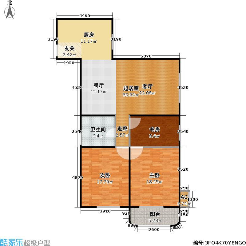 民星家园二期115.11㎡房型: 三房; 面积段: 115.11 -138.58 平方米; 户型