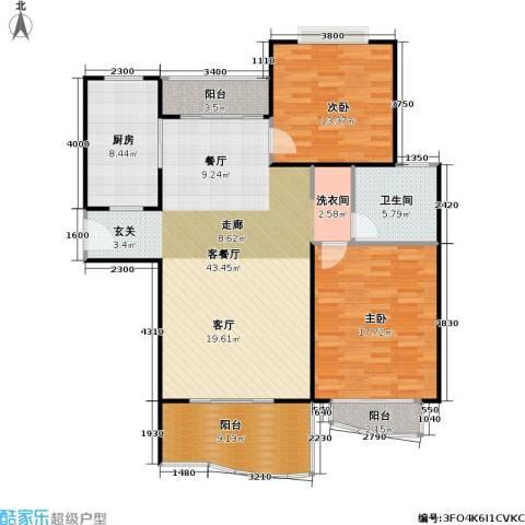 滨江名人苑2室1厅1卫1厨103.54㎡户型图